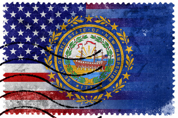 USA and New Hampshire State Flag - old postage stamp