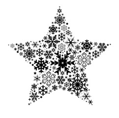 Star made of different shape snow flakes vector