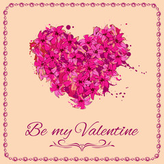 be-my-valentine card with heart made of flowers