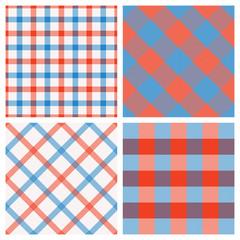Set of Seamless Tartan & Checkered Plaid Patterns, Red, White an