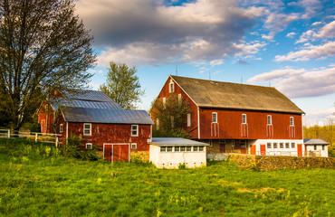 Red barn on a farm in rural York County, Pennsylvania.