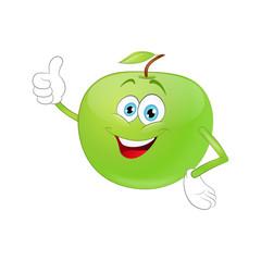 Cute cartoon apple raising his hands