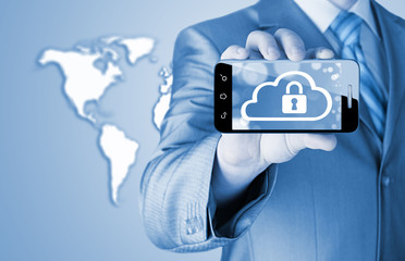 Man holds smart phone with cloud security concep