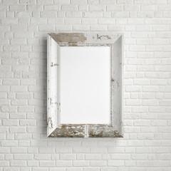 Mock up frame on brick wall background