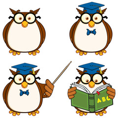 Cute Owl Cartoon Mascot Character 2. Collection Set