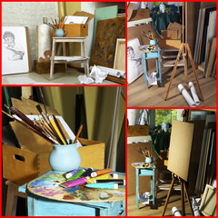 Artist's studio collage