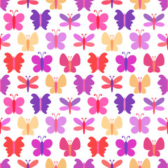 Cute seamless vector pattern of colorful butterfly silhouettes