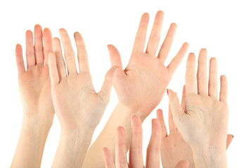 Group of people raising hands isolated on white background