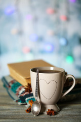 Beautiful composition with cup of hot drink,