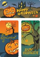 Halloween banners set with hand-written congratulation text