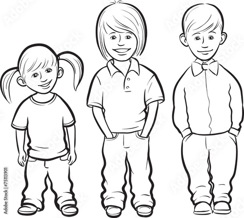 Quot Whiteboard Drawing Happy Kids Standing Quot Stock Image And