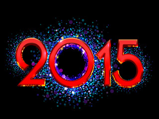2015 Happy New Year bright red text on a black background