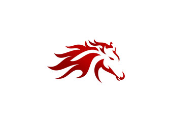 horse head power logo, energy red Fire business horse symbol, animal energy icon run vector design