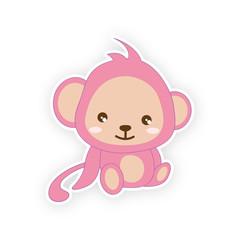 Cute small monkey - illustration. (monkey, cartoon, animals)