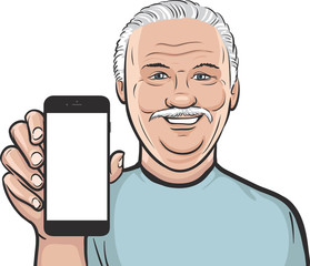 senior man showing a mobile app on a smart phone