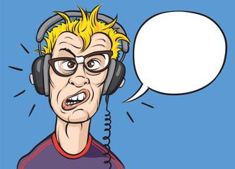 nerd with headphones