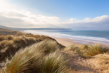 Sand Dunes and Woolacombe Beach Wall mural