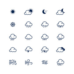 Simple line weather icon set. Vector illustration. Meteorology s
