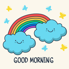Funny sketching smiling clouds and rainbow. Vector cartoon illus