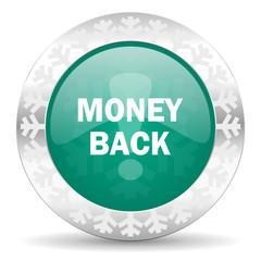 money back green icon, christmas button