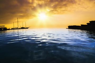 dawn sun tranquil calm sea