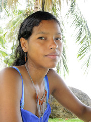 Creole Latina Nicaraguan woman in thought Corn Island Nicaragua