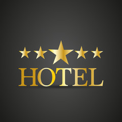 Golden five star hotel sign