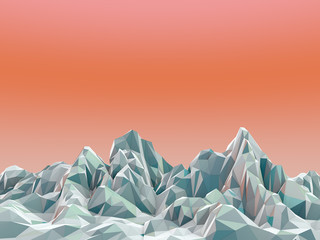 3d Rendered Mountains with Orange Background