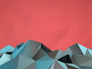 3d Rendered Cubic Style Mountain Landscape