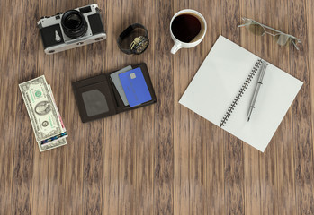Objects on wood background
