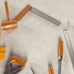 Mockup business template. Carpenter's workspace
