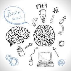 Doodles icons brain set