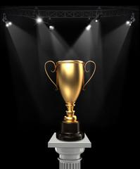 Cups on podium