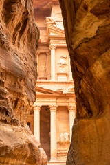 The end of the Siq, with its dramatic view of Al Khazneh