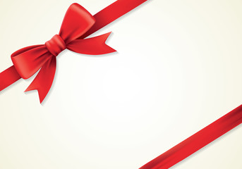 Red ribbons and greeting card, bows, new year, paper