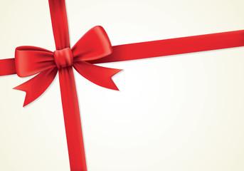 Red ribbons and greeting card, bows, birthday