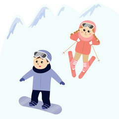 A boy snowboarding and a girl skiing in the snowy mountain