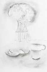 child's drawing - still life with vase of flowers