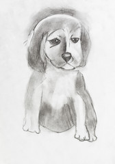 child's drawing - sad puppy