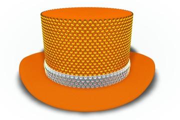 Orange Rhinestones Top Hat