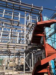 Fototapete - 軽量鉄骨の建築物の上棟