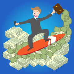 Illustration of Young businessman surfing money wave vector