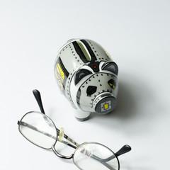 Sparschwein mit Brille