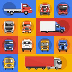 Truck Icons Flat