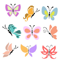 set of butterfly icons (vector)