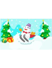 cartoon snowman skiing