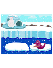 cute polar bear watching seal fishing