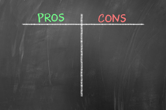 Pros and cons empty list on blackboard.