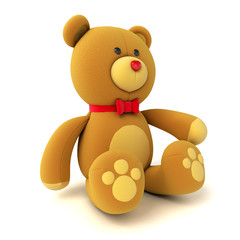 Toy teddy bear isolated on white. 3d render