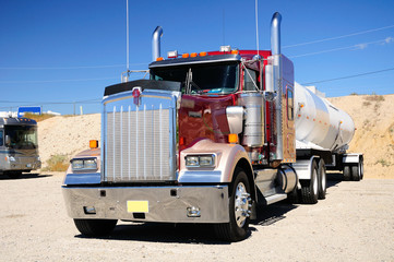 Big American truck at the parking ground. Nevada state. USA.